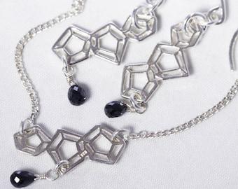 Black Diamond Necklace Flat Silver Chain 2-Piece SET Geometric Minimalist Necklace Earrings Real Diamond Jewelry PD-SET-186-BDiamond-s