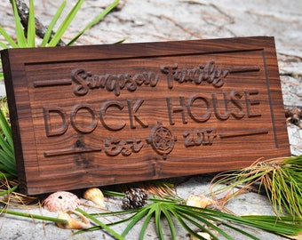 Family Name Sign/Lake House Sign Dock Sign/Outdoor Signs Lake House Decor/Custom Lake House Sign/LakeHouse Personalized Sign 3d Woodwork