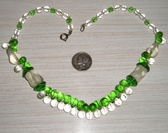 Vintage  Necklace With Frosted Glass Pears 1940's  Jewelry 156