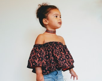 Off the shoulder toddler girl outfit, lace toddler shirt, orange and  navy shirt for baby girl, boho baby girl clothing, baby shower gift