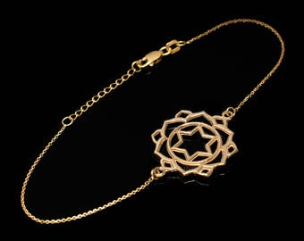 14K Gold Anahata (Love) Chakra Yoga Lotus Bracelet (yellow, white, rose gold)