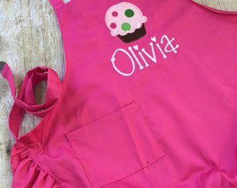 Child Apron, Cupcake Apron, Personalized Child Apron, Pink Ruffle Apron, Apron for Girl, Preschool