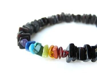 "Gay pride bracelet for men handmade from black shell and gemstone beads. - ""Rainbow Surfer"""