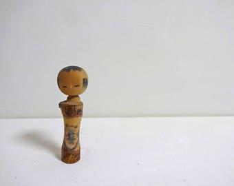 2.7inch Vintage Japanese Miniature Wood KOKESHI Doll