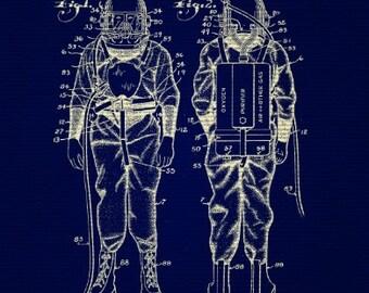 Retro Deep Sea Diver Suit Blueprint 8x10 Print