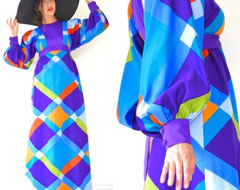 Vintage 60s 70s Psychedelic Harlequin Checked Poet Sleeve Empire Waist Maxi Dress (size small, medium)