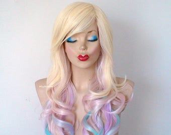 Pastel Ombre wig. Blonde / Pastel pink/Lavender/ Aqua blue ombre wig. Durable Heat resistant synthetic wig for daily use or Cosplay