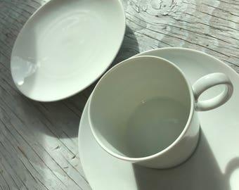 Thomas, Germany white porcelain tea trio. Beautiful simple design from Thomas, Germany. Tea trio for two.
