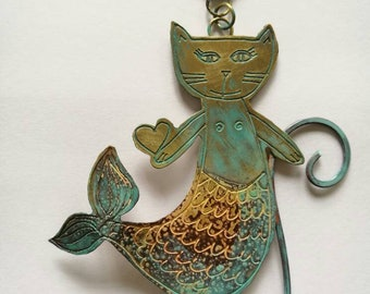 Handmade unique cute little 'Meowmaid' purrmaid cat mermaid wall hanging by Sharon McSwiney, made in St Ives, Cornwall