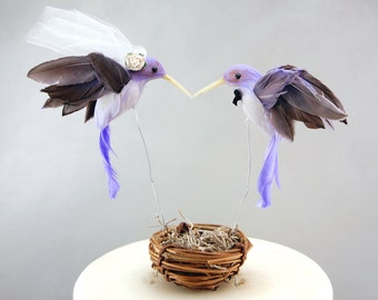Purple Hummingbird Wedding Cake Topper: Bride & Groom Love Bird Cake Topper