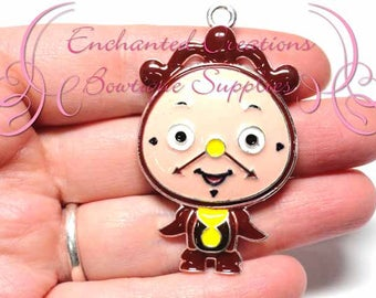 """2"""" Cogsworth The Clock Inspired Charm, Chunky Pendant, Keychain, Bookmark, Zipper Pull, Chunky Jewelry, Purse Charm, Planner Charm"""