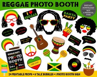 PRINTABLE Reggae Photo Booth Props–Reggae Party Props-Jamaica Photo Props-Rasta Props-Music Photo Booth Props-Reggae Props-Instant Download