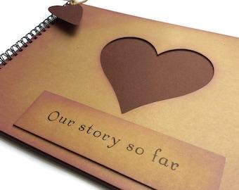 Rustic scrapbook memory book photo album / Our story so far / A4 kraft scrapbook / boyfriend gift / girlfriend gift / present