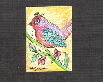 Aceo Ink and  Pencil Drawing of a Whimisical BIrd on a Flower Stem