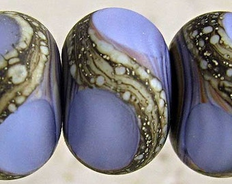 Purple Glass Lampwork Bead Set of 6 Frosted Etched Handmade with Silvered Ivory Web Small 11x7mm  Amethyst Velvet