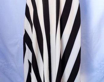 Maxi Black and white striped handmade skirt,steampunk,maxi,costume,lightweight  polyester skirt