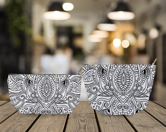 Black and White Cosmetic Pouch, bridesmaid gift, cosmetic pouch, makeup pouch, bridesmaid bag, bridesmaid clutch, bridesmaid makeup