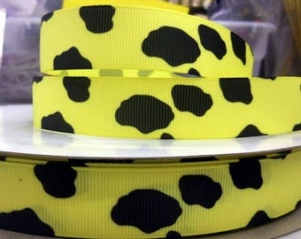 7/8 inch x 10 yards Grosgrain Ribbon..Cow Print-Yellow--On Sale Now...FREE SHIPPING