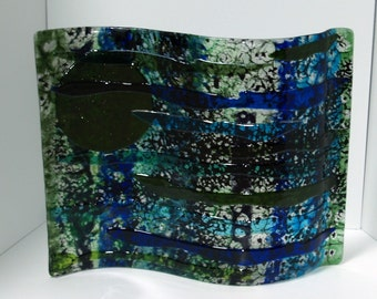 Fused Glass Blue Wave in Boiled Glass