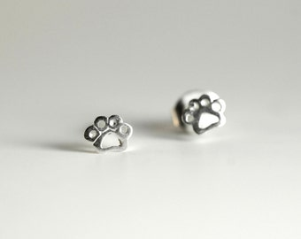 Paw Print Sterling Silver Earring Studs