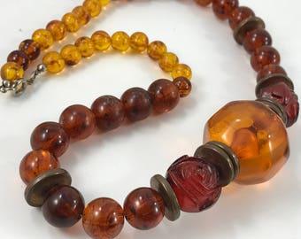 Vintage 1970's Era Ladies' Amber Plastic Beads Necklace