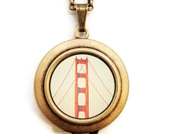 Tower - Photo Locket Necklace - San Francisco Golden Gate Bridge