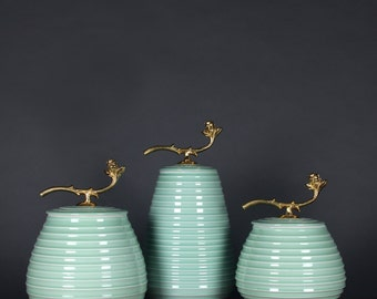 Turquoise Horizontal Line Accent Porcelain Jar With Copper Lid