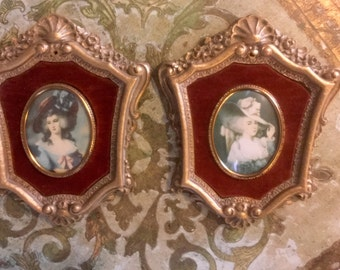 Pair of Beautiful Cameo Creations Portraits with Ornate Gesso Frames.