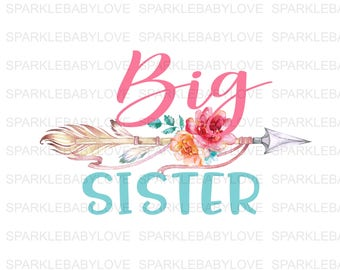 Big Sister, DIY iron on, Sublimation transfer, Ready to Press, Iron on Ready, htv printed, Thankful and blessed, Iron on Transfer