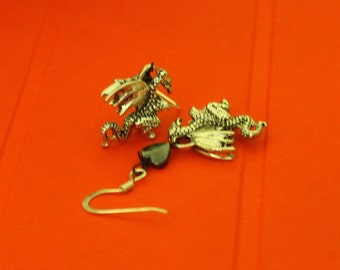 Captivatingly Handmade/Handcrafted Hematite Heart Beads with Silver Dragon Charms Dangle Earrings