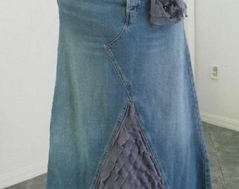 SALE Levi's jean skirt lavender ruffle wisteria purple lilac amethyst rhinestone  bohemian mermaid Renaissance Denim Couture