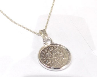 1934 84th Birthday / Anniversary 3d Threepence coin pendant plus 18inch SS chain gift 84th