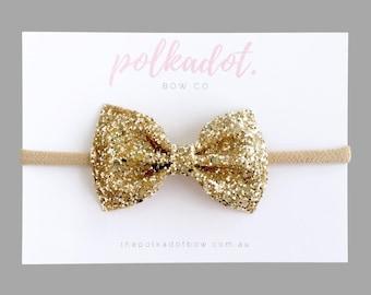 Gold Glitter Bow Headband, Gold Bow, Christmas Headband,Baby Headband, Gold Baby Headband - 'stella' by thepolkadotbowco