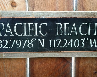 Recycled wood framed street sign-Any Town/City longitude latitude