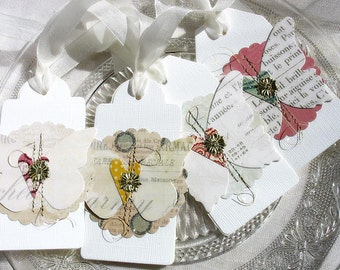 Elegant Luxe Butterfly Gift Tags No. 3-white-cream-bridesmaid gift tags-spring faire-garden party-gold-nature