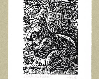 Squirrel art print - Squirrel Linocut in black ink Original hand-pulled Relief Print