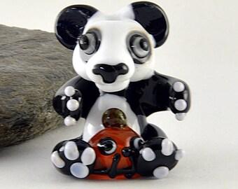 PANDA Bear, Halloween, Pumpkin, Black and White Bear sculpture focal glass lampwork bead, Izzybeads SRA