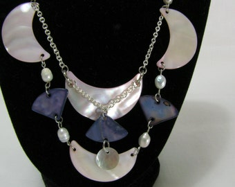 Original Handcrafted Mother of Pearl Necklace | Pink and Blue Mother of Pearl | White Pearls | Double Strand Chain Necklace