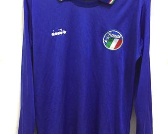 Vintage Rare Longsleeve Diadora Italy Soccer Jersey Size S Made in Italy