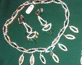 Reduced 1950s  KRAMER Bibb Necklace Clip Back Drop Earrings Splinter Cut Emeralds, Rhinestones - item 735, Jewelry