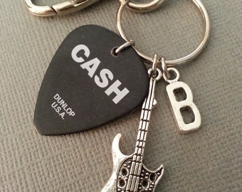 Johnny Cash Keychain / Music / Best Friend / BFF Keychain / Guitar Pick Keychain / Rock and Roll / This Heart of Mine