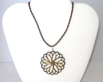 SueBero Brown + Cream Dahlia Pendant w GP Greyhound or Whippet Dog, Braided Brown Leather Necklace