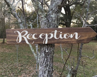 Reception stained wood sign
