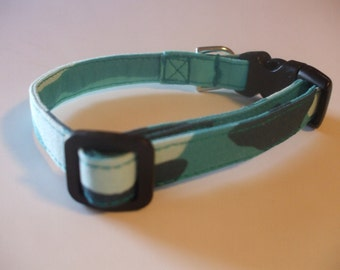 Handmade Cotton Dog Collar Aqua Blue Green Camo