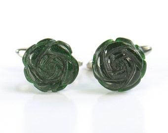 Green Aventurine Gemstone Flower Cufflinks - Mens Gift - Accessories -Gift