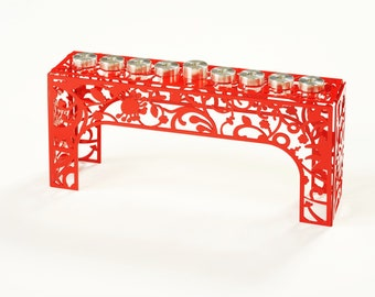 Flower Hanukkah Menorah - Red