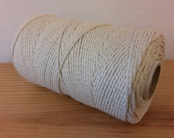 Cotton cord. Twisted cotton cord. Cotton rope. Macrame rope - spool of 100% cotton rope - 3 mm - ecru.
