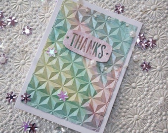 Pastel Thank You Embossed Handmade Blank Greeting Card - A6
