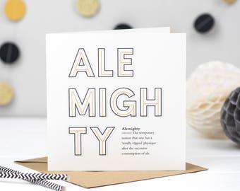 Alemighty Ale Card - Ale Card - Beer Lover - Ale Lover - Craft Beer Card
