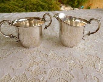 Vintage Sterling Silver Creamer and Sugar Bowl Set